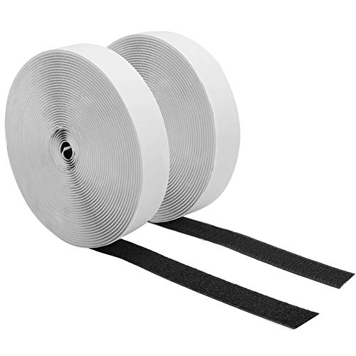 27Ft x 0.79 Inch Self Adhesive Hook Loop Strips, Heavy Duty Strong Back Sticky Fastening Tape,Nylon Fabric Fastener Mounting Tape for Sewing, Crafting,DIY- Indoor or Outdoor Use (Black)
