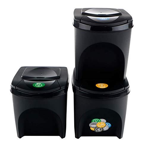 Prosperplast ZA907 - Juego de 3 Cubos de Reciclaje, Plástico, 25 L, 24 x 40 x 33.7 cm, Color Antracita