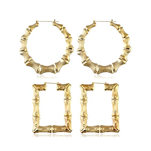 2 Pairs Large Bamboo Hoop Earrings Set Gold Plated Exaggerated Big Statement Hip-Hop Geometric Earrings for Women Girls-gold