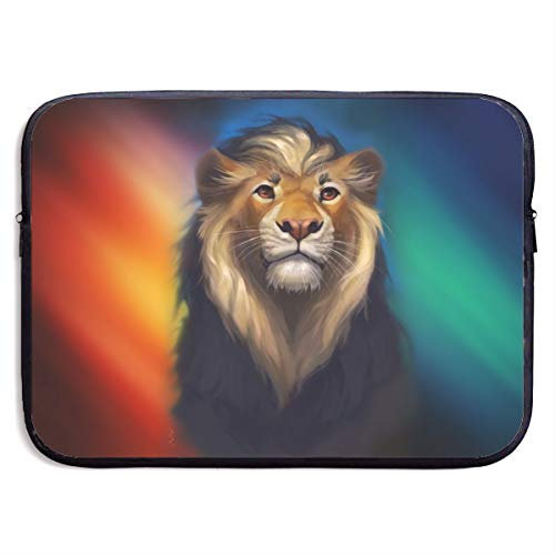 Gao808yuniqi Lion in Red Blue Light Laptop Sleeve Shoulder Bag for Women, Protective Carrying Case Compatible with 13-15 Inch MacBook Pro, Air, Notebook,Slim Sleeve