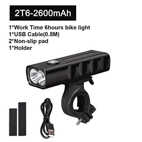 WLTY Luz de bicicleta L2/T6 LED luz de bicicleta recargable por USB, luz delantera de bicicleta como accesorios de banco de energía, 2T6 6 horas A