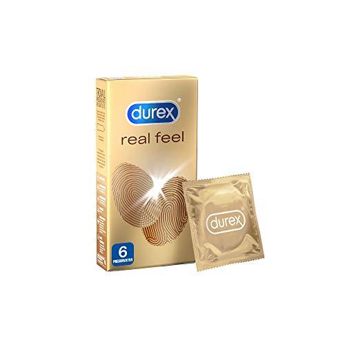 Durex Real Feel, Preservativi Circonferenza Large, Sensazione Naturale di Contatto sulla Pelle, 6 Pezzi