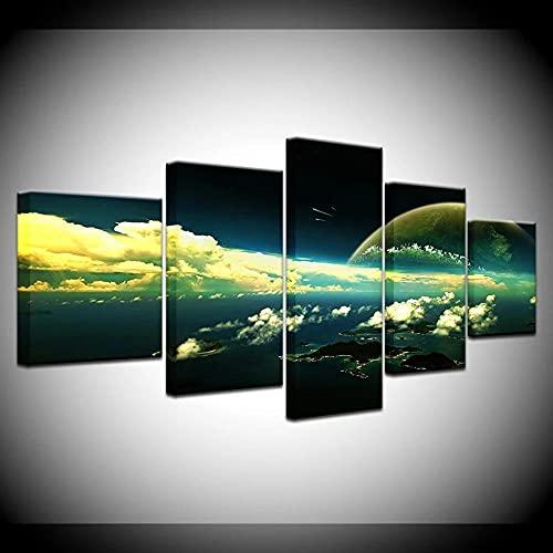 YUXIXI Cuadros Decoracion Salon Modernos 5 Piezas Canvas Wall Art Moderno Decoracion No Tejido Lienzo Impresión Modular Poster Mural/con Marco/150X80Cm/Cielo Azul Nubes Blancas Mar Paisaje