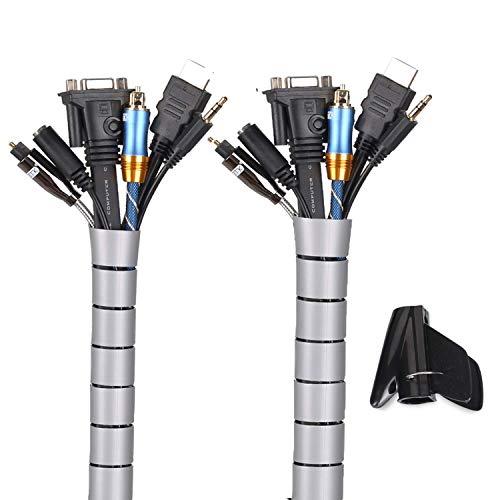 MOSOTECH Organizador Cables, Cubre Cables de 2 x 3m, Flexible Funda Organizador Cables, Organizador de Cables Mesa, Recoge Cables para Office y PC Escritorio-Gris(Ø2.2cm y Ø1.6cm)
