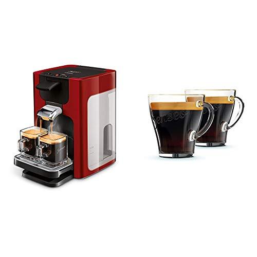 Philips Senseo Quadrante HD7865/80 Kaffeepadmaschine (XL-Wassertank) rot & CA6510/00 Kaffeegläser, 2 Stück