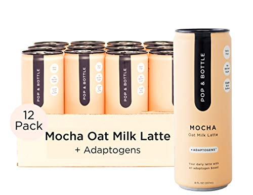 Pop & Bottle - Oat Milk Lattes with Adaptogens   8 Fl Oz (Pack of 12) Mocha   Maca, Ashwagandha, MCT Oil, Oat Milk, Cold Brew Coffee + More   Organic, No Dairy, No Gluten, Lightly Sweetened with Dates