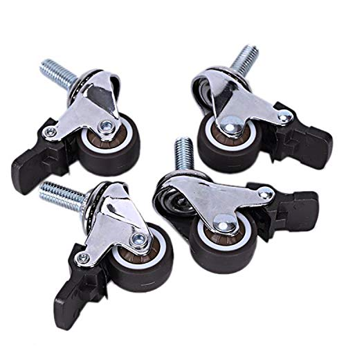 NGHSDO Castor Wheels 4Pcs Mini Small Casters Silent Wheels With Brake Universal Casters Wheel For Furniture Bookcase Drawer 1 Inch 001