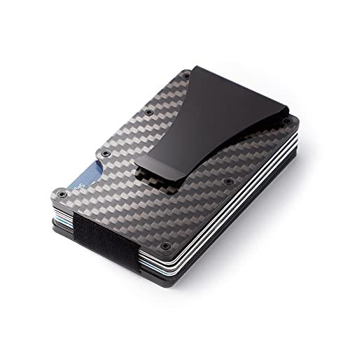 tarjeteros para Tarjetas de credito de Fibra de Carbono con Clip de Dinero metálico - NFC RFID Que bloquea el Monedero Delgado de Metal para Hombres (Negro 2)