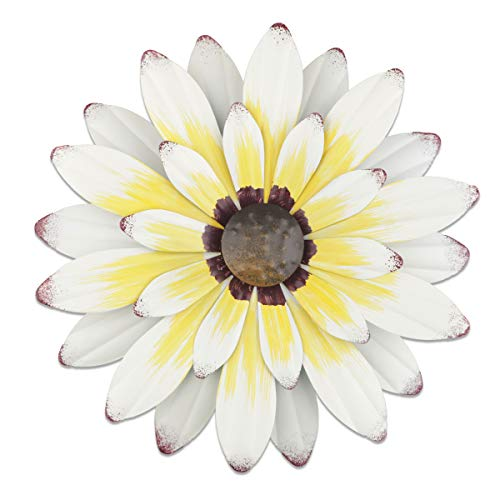 """YiYa 13"""" Metal Flower Wall Decor Multiple Layer Flower Wall Art Wall Art Decorations Hanging for Balcony Patio Porch Bedroom Living Room Garden (White Yellow)"""