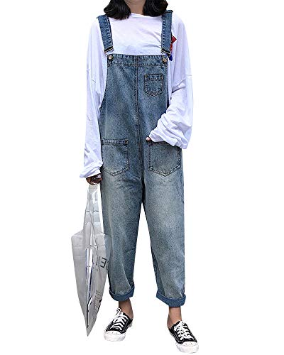 Damen Jeans Denim Gerade Hosen Verstellbarer Schultergurt Overall Latzhose Hellblau M