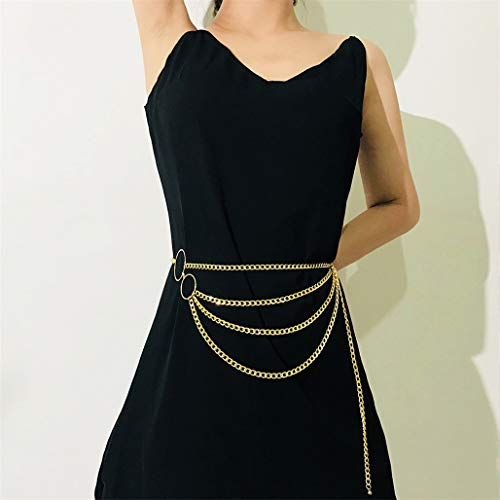 Kaned Taillengürtel, modisch, mehrlagig, Quaste, Metallschnalle, Kreis, mehrschichtige Quaste, Link für Frauen Kleidung Accessoires Gold