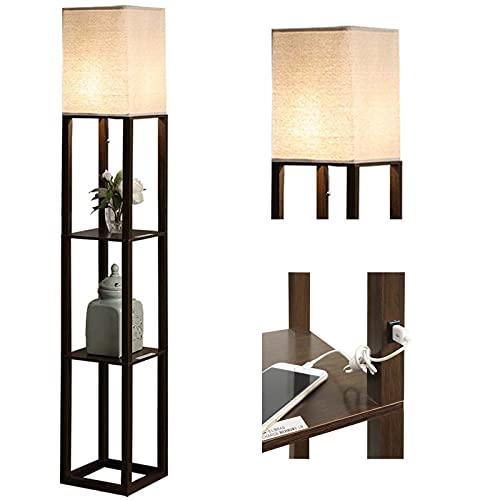 Shelf Floor Lamp with USB Charging Port - Bookshelf Nightstand Floor Lamp for Bedroom Living Room,Modern Corner Storage Floor Lamp (1 USB Port)