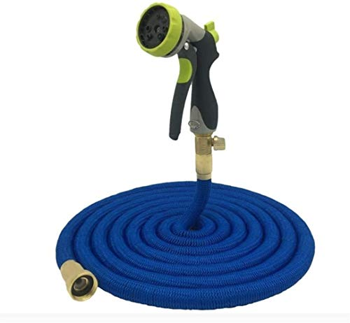LYYJIAJU Garden Hose Reel Expandable Garden Hose Pipe Flexible Water Hoses Hosepipe with 8 Function Spray Nozzle No-Kink/Solid Metal Connector/Hanging Hook (Color : Blue, Size : 150FT)