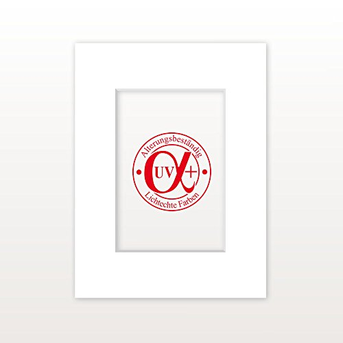 AlphaUVplus Passepartout Reinweiß - Außen: 70 x 100 - Für Bildgröße 50 x 70 - Museumsqualität