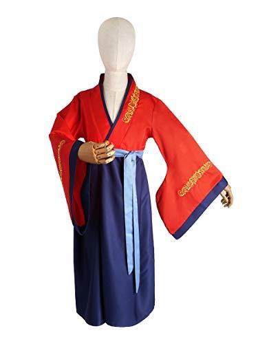 CoolChange Disfraz de Mulan para nios | Vestido Tradicional Chino para Chicas | Hanfu Rojo/Azul | Talla: 140