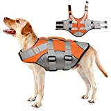 IDOMIK Reflective Dog Life Jacket, Adjustable Ripstop Pet Life Vests with Rescue Handle, Life Preserver Swimsuit for Small Medium Large Dogs, Adjustable Flotation Lifesaver Coat for Swimming Surfing