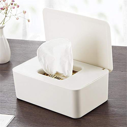 Wet Paper Handdoek Doos Thuis Desktop Seal stof Bewijs Cover Nat Papier Handdoek Doos (Empty Box) Nat Veeg Opbergdoos Baby Veeg Doos Kleur: wit