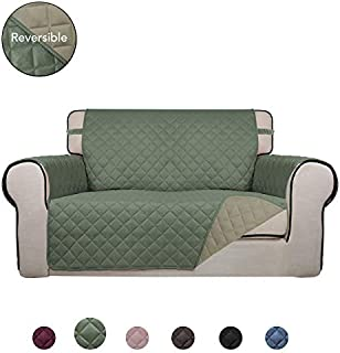 PureFit Reversible Quilted Sofa Cover, Water Resistant Slipcover Furniture Protector, Washable Couch Cover with Non Slip Foam and Elastic Straps for Kids, Dogs, Pets (Loveseat, Greyish Green/Beige)