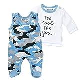 Baby Sweets 2er Baby-Set mit Strampler & Shirt für Jungen/Baby-Erstausstattung in Blau-Grau in Camouflage-Optik/Baby-Strampler als Babykleidung/Baby-Outfit aus Baumwolle/Größe: 74 (9 Monate)