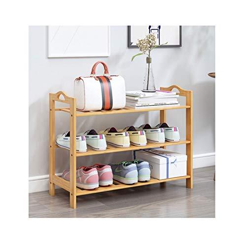 Zapatero de 3/4/5/6 niveles, organizador de zapatos de bambú para entrada, hogar, sala de estar, balcón, pasillo (tamaño: 50 cm, 3 niveles)