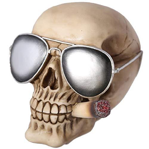 ootb Hucha de poliresina, Calavera Plateada con Gafas de Sol & Joint, Gris, 15 x 15 x 18 cm