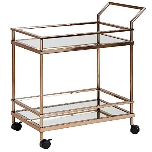 FineBuy Design Servierwagen Dunkles Gold 2 Ebenen mit Bremsen | Beistelltisch auf Rollen | Speisewagen mit Glasplatte | Küchenwagen | Teewagen