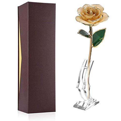 Rosa artificial de oro de 24 quilates con tallo largo bañado en caja de regalo de oro con soporte para esposa, madre, niña, día de San Valentín, cumpl