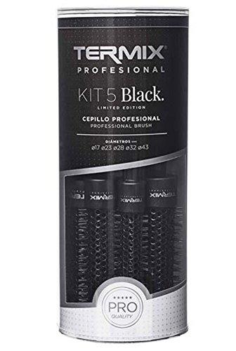 Termix – Pack de 5 cepillos de cerámica negro (tamaños 17-23-28-32-43)