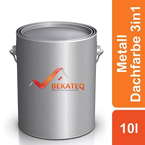 BEKATEQ Metall Dachfarbe 3 in 1, 10L Rotbraun, Blechdachfarbe seidenmatt, LS-580 Dachbeschichtung, Metallschutzfarbe