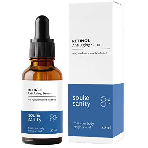 Retinol Serum vegan hochdosiert mit Vitamin A Hyaluronsäure und Vitamin E | Feuchtigkeitsserum für Anti Aging Anti Falten