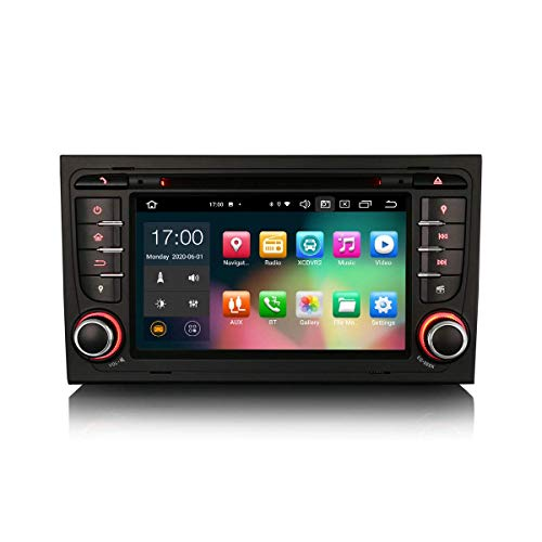 JALAL 7 Pulgadas Android 10.0 Estéreo para automóvil para Audi A4 S4 RS4 RNS-E Seat Exeo Soporte GPS Sat Nav Carplay Android Auto DSP Bluetooth WiFi Dab + TPMS 8-Core 4GB RAM + 64GB ROM