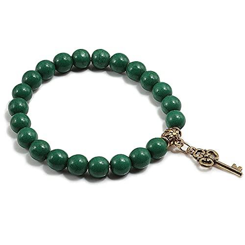 Pulsera de metal con colgante de llave, negro natural, piedra de lava mate con cuentas, pulseras de turquesas coloridas, mujeres, hombres, encantos, joyería-azul marino green_CHINA