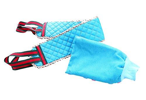 Serviette de bain Pull Back Strip Double Face Epaississant Gants de boue forte, bleu