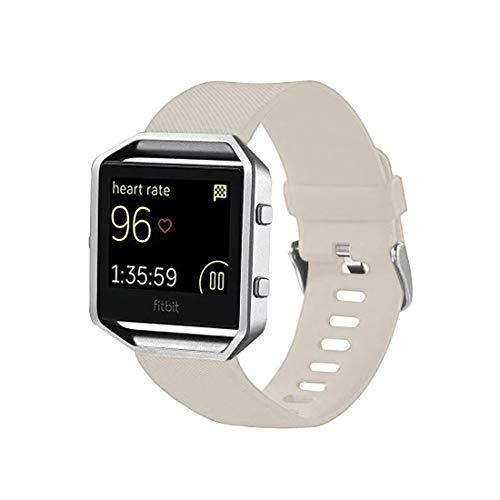 NO BRAND En Forma de Diamante de la Correa de muñeca Deport TANGZHIBAO for Fitbit Blaze Watch Banda de Reloj de Silicona con Textura Oblicua, tamaño Grande, Longitud: 17-20cm (Negro) (Color : Beige)