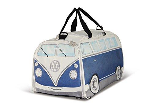BRISA VW Collection - Volkswagen Combi Bus T1 Camper Van Sac de Sport à anses et bandoulière, Grande Capacité, Sac à Main avec Compartiments humides et Plancher Souple, pour Voyage/Gym (L/Bleu&Beige)