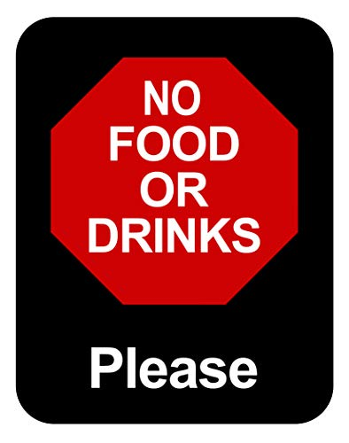 """NO Food OR Drinks Please - Durable Plastic 7""""x 5.5"""" Retail Store Sign Policy Business Signs - Clearly Lets Everyone Know That Food is not Allowed. Please Don't eat here. Installs Anywhere Made in USA!"""
