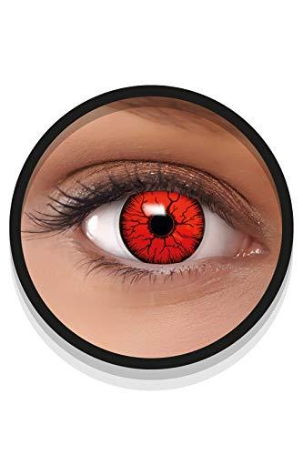 FXEYEZ Farbige Halloween Kontaktlinsen rot DEVIL, weich, 2 Stück (1 Paar), Ohne Sehstärke