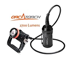 ⭐SCUBA DIVING CANISTER LIGHT, MAX 2700 LUMENS: ORCATORCH D620 is a primary canister dive light specially designed for underwater adventure such as scuba diving and cave diving. The newly designed switch can be locked when rotated 90 degrees, which no...