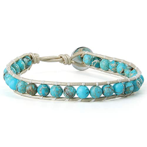 KELITCH 6mm Türkis Perlen Wickelarmband Damen Weiß Lederarmbänder Handgewebt Neue Charm Armbänder (Blau 8D)