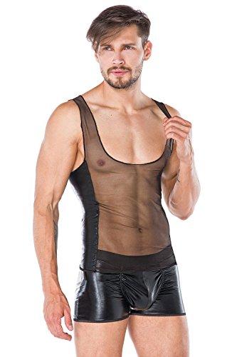 Andalea Herren Wetlook Dessous Set aus Hemd und Boxer-Shorts in schwarz transparent Männer Unterwäsche Größe: S/M