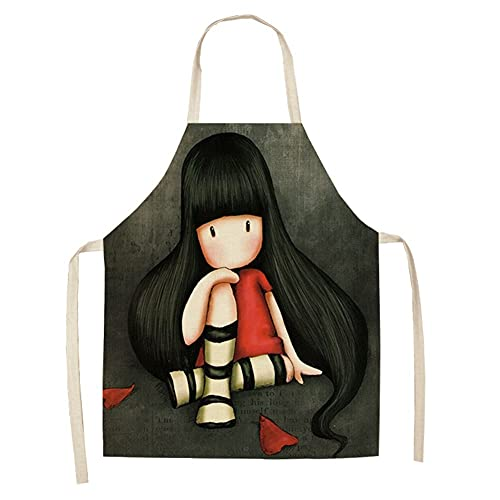 TRSX Delantal de Dibujos Animados Delantal Lindo Chica Impresa Delantales Delantales para Mujer de Lino para la Cocina para Hornear Delantal Delantal Cocinero Cocinero Delantal