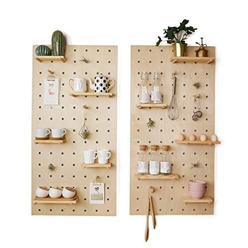 WWWANG Houten berging, woonkamer, keuken, slaapkamer, scheidingswand, muur het hangen rek, houten gatbordtest/massief hout (Color : Gray(combination), Size : 60 * 120)