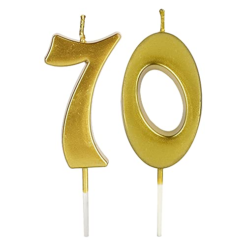 Gold 70th Birthday Candles for Cake, Number 70 Glitter Candle Party Anniversary Cakes Decoration for Women or Men