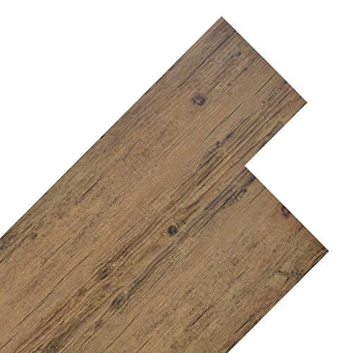 UnfadeMemory PVC Laminat Dielen PVC-Boden Fußboden-Belag Strapazierfähig Rutschfest und Pflegeleicht, Laminatboden für Wohnzimmer oder Küche (5,26 m², Walnuss-Braun)