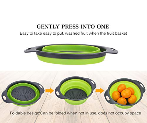 Kitchen Collapsible Colander Set of 3, HJYuan Silicone Colander Strainer Over the Sink Food Folding Water Filter Basket… 3 【 Foldable and Space Saving Design】Ergonomic, space-saving design. Strainers are foldable, so they do not take up much room in your kitchen cupboards. 【Safe and Comfortable】Using environmentally friendly Rubber and plastics materials,no smell.And it is very soft and comfortable. Closed home partner for life. 【Easy to Use】This round colander used for draining most foods like spaghetti, pasta, potatoes, broccoli, green beans, carrots, spinach and other veggies, to rinse your salad leafs, fruits and fresh vegetables.
