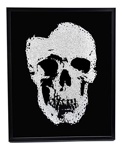 Wandbild Bild Totenkopf Skull Glasbild Wohnzimmer Deko Schwarz mit Glitzer