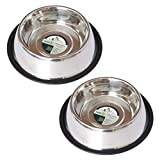 Iconic Pet 8 Cup Stainless Steel Non-Skid Pet Bowl for Dog Or Cat (2 Pack), 64 oz