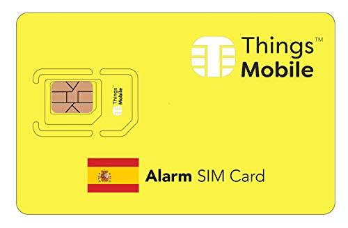 Tarjeta SIM para ALARMA in ESPAÑA - Things Mobile - con cobertura global y red multioperador GSM/2G/3G/4G LTE, sin costes fijos, sin vencimiento y con tarifas competitivas. 10 € de crédito incluido