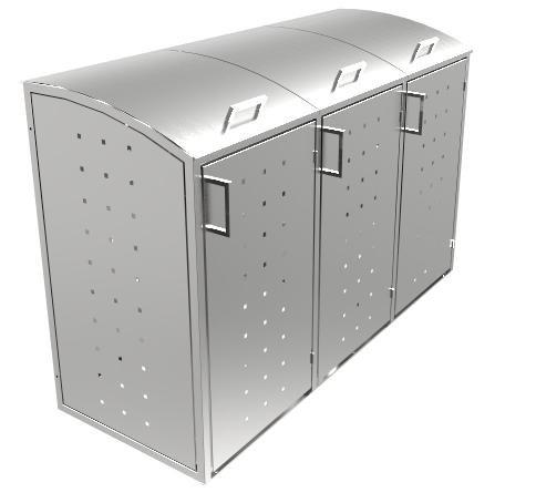 Resorti Mülltonnenbox Edelstahl 3 x 120 / 240 Liter hochwertige Müllbox robustes Mülltonnenhaus (240 Liter (204x81x130cm))