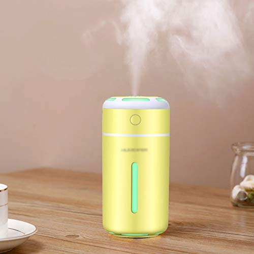 Portable Air Humidifier, Mini USB Car Air Humidifier, Ultrasonic Cool Mist Humidifier, With 7 Colors Night Light And Auto Shut-Off, For Car Travel Office Baby Bedroom Home (230ML) ( Color : Yellow )